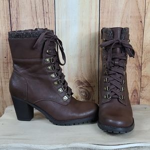 Brown Zee Lace Up Style Boots